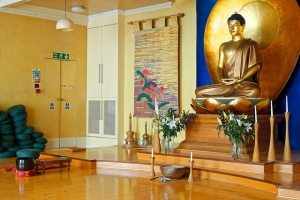 This is the main shrine room at the London Buddhist Centre.  There is much discussion about the role of 'secular' mindfulness and Buddhism.