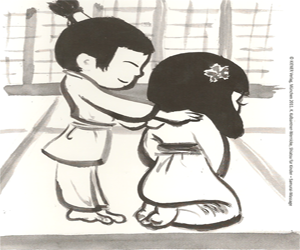 The characters Kooko and Hanako are used to engage children in learning Shiatsu massage techniques.